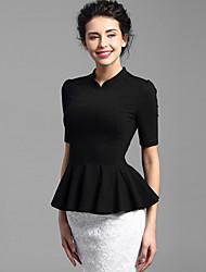 Baoyan® Dámské Stojáček Jedno poloviny délka rukávu Tričko Black Fade-150655