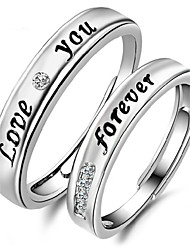 cheap -2pcs Sterling Silver Ring Love You Forever Couple Rings Adjustable Fashion Jewelry for Couple Wedding Engagement Ring