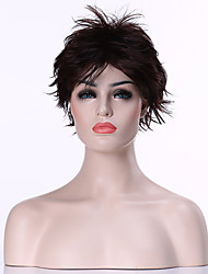 Capless Popular Dark  Brown Short Curly Synthetic Hair Wig Woman's  Full  Wig Suit for Daily Life