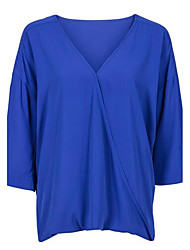cheap -Women's Work Blouse - Solid Colored Deep V