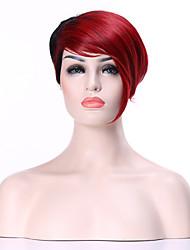 baratos -Perucas sintéticas Liso Densidade Sem Touca Mulheres Vermelho Peruca Natural Curto Cabelo Sintético