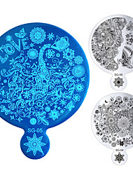 Fashion 1pcs New Flower Butterfly Nail Art Stamping Template Mirror Handle Beauty Design Image Stencil DIY Manicure