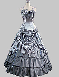 Victorian Rococo Female One Piece Dress Party Costume Gray Cosplay Satin Sleeveless