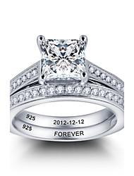 Promessa nobre personalizada 925 casais de prata esterlina cz anel de casamento de pedra