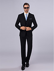 cheap -Suits Slim Fit Slim Notch Single Breasted One-button 3 Pieces Black Straight Flapped