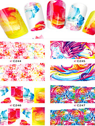 cheap -8pcs  Nail Art Water Transfer Stickers Colorful Abstractive Image Fashion C244-247