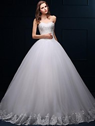 cheap -Ball Gown Sweetheart Floor Length Tulle Wedding Dress with Beading Appliques by LAN TING BRIDE®