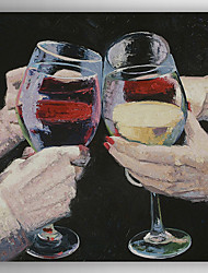 Oil Painting Modern Wine Cup and Cheers Hand Painted Canvas with Stretched Framed