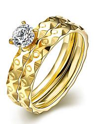 Dámské Prsten imitace Diamond Kruhy Pozlacené Round Shape Křídla / Peří Šperky Pro Svatební Párty Zvláštní příležitosti Narozeniny