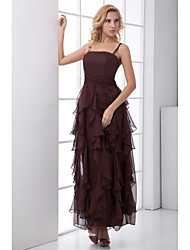 A-Line Spaghetti Straps Ankle Length Chiffon Formal Evening Dress with Ruffles by XFLS