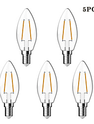cheap -2W E14 LED Filament Bulbs C35 2 COB 180 lm Warm White 2700 K Waterproof Decorative AC 220-240 V
