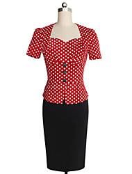 baratos -Mulheres Trabalho Tubinho Vestido Poá Decote Princesa Cintura Alta
