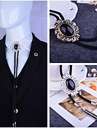 cheap -Baroque pattern Bolo Tie Western Cowboy Artificial Black Onyx Men Necktie