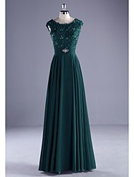 Ball Gown Scoop Neck Floor Length Chiffon Lace Formal Evening Dress with Beading Lace by ARMK