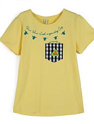 preiswerte -Jungen T-Shirt Alltag Schachbrett Baumwolle Sommer Kurzarm Gelb