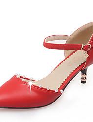 お買い得  -女性用 靴 レザーレット 春 夏 オルセー&ツーピース スティレットヒール イミテーションパール のために オフィス&キャリア ドレスシューズ パーティー ブラック ベージュ レッド グリーン