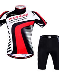 baratos -WOSAWE Camisa com Shorts para Ciclismo Unisexo Manga Curta Moto braço aquecedores Shorts Acolchoados Camisa/Roupas Para Esporte Pulôver