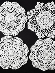 cheap -Set of 24 Pcs White  Round Mix 4 Styles Handmade Crochet Table Doilies