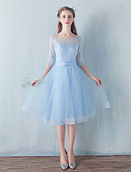 cheap -A-Line Scoop Neck Knee Length Lace / Tulle Bridesmaid Dress with Bow(s) by LAN TING Express