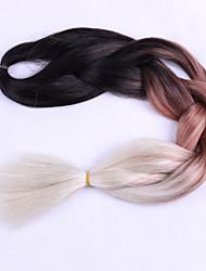 1 Strand Brown Box Braids Jumbo Hair Extensions 24inch Kanekalon 80-100g/pc gram Hair Braids