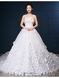 Ball Gown Strapless Cathedral Train Tulle Wedding Dress with Beading by Embroidered bridal