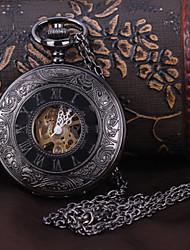 baratos -Homens Relógio de Bolso relógio mecânico Automático - da corda automáticamente Gravação Oca Lega Banda Analógico Luxo Preta - Preto