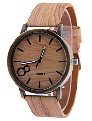 Homens Relógio de Pulso Relógio Madeira Quartzo Relógio Casual Couro Banda Minimalista Preta Branco