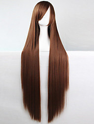 cheap -Anime Cosplay Wigs Brown 100 CM Long Straight Hair High Temperature Wire