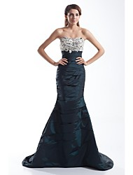 Mermaid / Trumpet Sweetheart Court Train Taffeta Formal Evening Dress with Beading Appliques Buttons Side Draping by TS Couture®