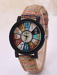 Men's Triangle Case Leather Wood Band Analog Quartz Wrist Watch Cool Watch Unique Watch Fashion Watch
