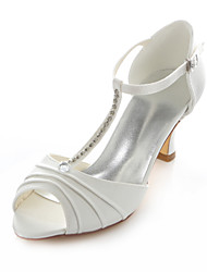 cheap -Women's Shoes Stretch Satin Chunky Heel Heels / Round Toe Sandals Wedding / Party & Evening / Dress Ivory