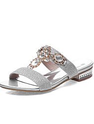 cheap -Women's Shoes Low Heel Round Toe Sandals Dress / Casual Silver / Gold