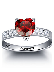 cheap -Personalized Red Heart 925 Sterling Silver CZ Stone Wedding Ring For Women
