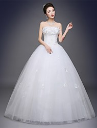 cheap -Ball Gown Strapless Floor Length Satin Tulle Wedding Dress with Appliques by QQC Bridal
