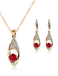 cheap -Women's Jewelry Set Necklace/Earrings Crystal Wedding Party Daily Rose Gold Crystal Rhinestone Rose Gold Plated Alloy Earrings Necklaces