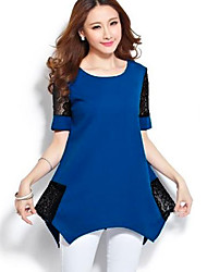Women's Going out Plus Size / Vintage / Street chic All Seasons Blouse,Color Block Round Neck Short Sleeve Blue / Black / GreenCotton /