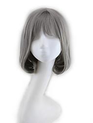abordables -Pelucas sintéticas Rizado Corte asimétrico Pelo sintético Entradas Naturales Gris Oscuro / Gris Peluca Mujer Corta Sin Tapa