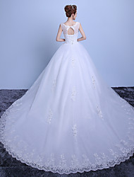 Ball Gown Scoop Neck Cathedral Train Lace Satin Tulle Wedding Dress with Lace by QQC Bridal