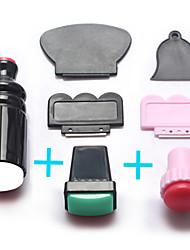 3sets kits raspador prego Stamper Arte selo diy prego carimbar instrumentos de manicure modelo de transferência de impressão
