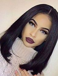 Natural Hairline Virgin Human Hair Silky Straight Bob Style Glueless Lace Wig