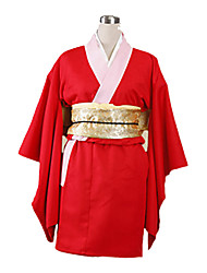Inspireret af Gintama Kagura Anime Cosplay Kostumer Cosplay Kostumer Kimono Ensfarvet Langærmet Yukata Handsker Undertøj Bælte Sløjfe Til