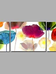 billige -Hang-Painted Oliemaleri Hånd malede - Abstrakt / Landskab / Sille Liv Moderne Lærred / Tre Paneler