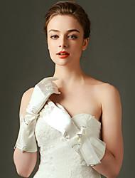 Al gomito Con dita Guanti Nylon Guanti da sposa Da sera/eleganti Primavera Autunno Inverno Fiocco