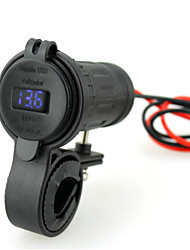 Iztor Waterproof 4.2A  Lighter dual USB Car Phone Charger and 12V blue voltmeter with 60cm wire