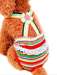 baratos -Gato Cachorro Calças Roupas para Cães Riscas Arco-Íris Algodão Ocasiões Especiais Para animais de estimação Fantasias Casamento