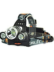 RJ-3000 LED Flashlights / Torch Headlamps Headlight LED 3000/5000 lm 4 Mode Cree XM-L T6 Rechargeable Strike Bezel 2x18650