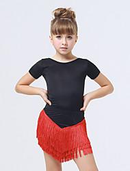 abordables -Tenues de Danse pour Enfants Robes Enfant Spectacle Elasthanne Polyester 1 Pièce Manche courte Robe
