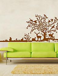 economico -grandi decalcomanie della parete albero animali cervi muro uccelli adesivo scenario per la famiglia