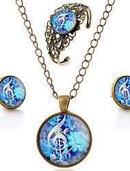 Lureme® Time Gem Series Vintage Flowers with Musical Note Pendant Necklace Stud Earrings Hollow  Bangle Jewelry Sets