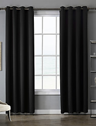 Grommet Top Two Panels Curtain Modern , Solid Bedroom Polyester Material Blackout Curtains Drapes Home Decoration For Window